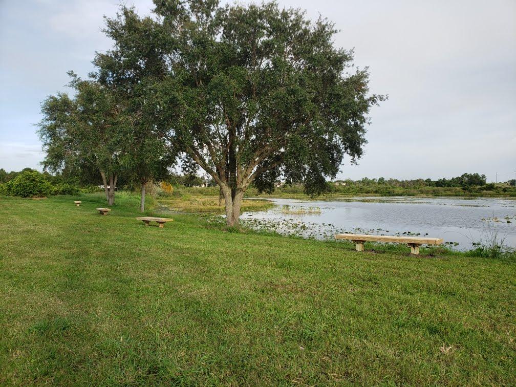 Benches around lake